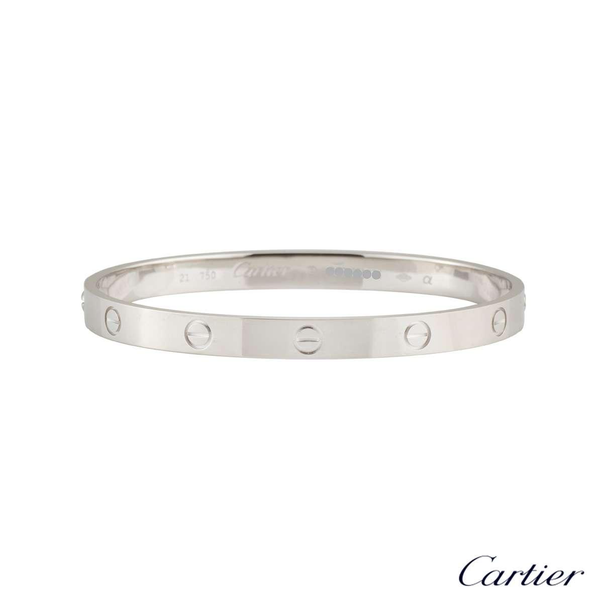 Cartier White Gold Plain Love BraceletSize 18 B6035418